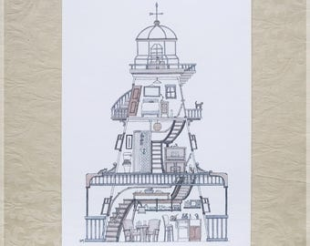 Lighthouse featuring 10 Hidden Cats ~ A4 Art Print from Original Ink & Watercolour Piece