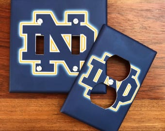Notre Dame light switch plate Fighting Irish cover blue // Back to School // SAME DAY SHIPPING **