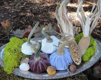Handmade Velvet Mini Corn with real dried corn husk and Velvet Pumpkins