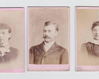 "3 Victorian Small Size Cabinet Card Photos 2"" X 3"""