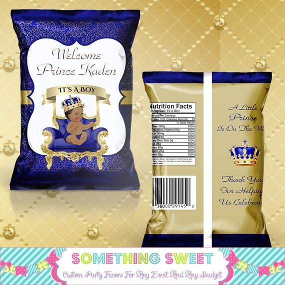 printed blue and gold royal prince themed chip bag treat bag. Black Bedroom Furniture Sets. Home Design Ideas