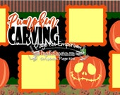 Scrapbook Page Kit Fall Halloween Pumpkin Carving Boy Girl Baby 2 page Scrapbook Layout Kit 04