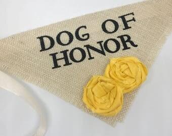 Engagement Photos Save the Date Cards Dog Bandana Dog of Honor Bumblebee Yellow Flowers Wedding Dog Collar Girl Flowers Fabric Roses Wedding