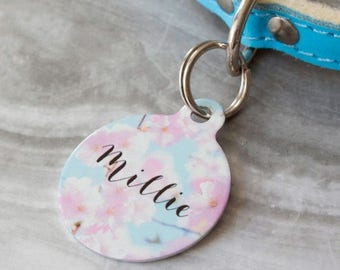 ON SALE Personalised Blossom Pet ID Tag  - Dog Name Identification