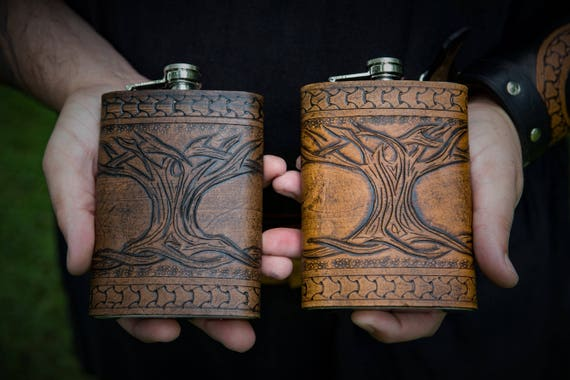 Viking Leather Flask - Yggdrasil / Tree of life-  8oz Flask