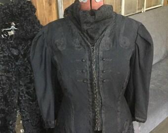 Victorian Antique jacket waistcoat brocade peplum black
