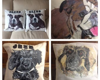 Hand painted dog cushions