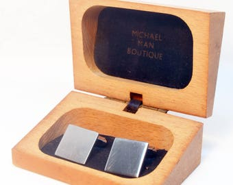 Brushed Stainless Steel Cufflinks in Original Wooden Box, Michael Man Boutique