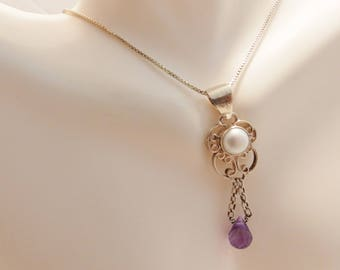 Sterling Silver White Pearl Necklace