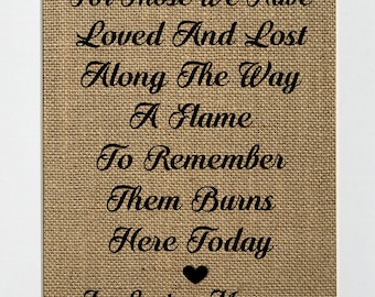 """In Loving Memory Sign *burlap* """"For those we have loved and lost... To remember them burns here today"""" Candle Burning Rustic Wedding Sign"""