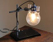 Industrial science lamp gift scientist chemistry decor desk lighting laboratory apothecary biology cool Edison bulb boiling flask glass