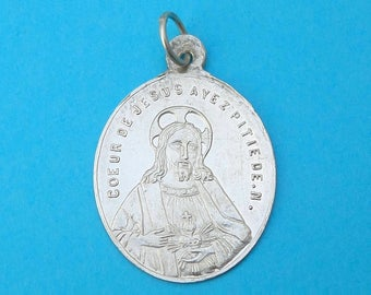 French, Antique Religious Sterling Pendant. Saint Virgin Mary, Jesus Christ, Sacred Heart. Silver Medal. 170617 4 F