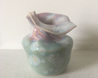 Budding Lotus - Celadon and Dusky Pink Stem Vase, wheel thrown stoneware, hand painted with reactive glazes, unique studio ceramics