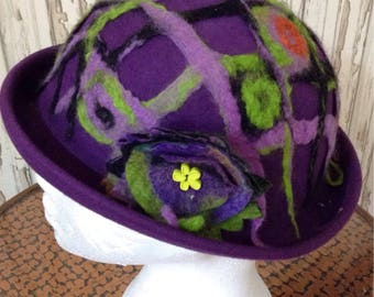 SALE Customised Purple Bowler Hat with Felt Embellishments // Alternative, Custom Made, Upcycled, Refashioned