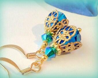 Swarovski Crystal Earrings, Capri  Blue Earrings, Plique a Jour, Hand Painted, Victorian, Vintage Style, Swarovski Capri Blue Dangles, Aqua