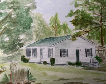 Custom 11x14  Watercolor of House from Photo