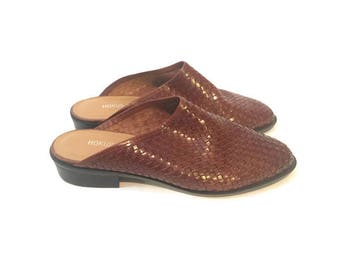 Vintage Brown Woven Clogs