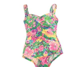 Vintage Neon Bright Floral One Piece Bathing Suit