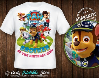 Paw Patrol Birthday Shirt,Brother of the Birthday Girl,Birthday Party, Iron on Transfer,Printable, Instant Download