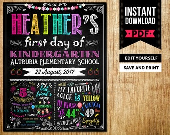 First Day of School Sign Instant Download, Kindergarten Sign Instant Download, Kindergarten Sign Chalkboard, Kindergarten Sign Printable