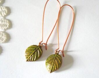 Elongated Leaf Earrings, Copper Dangles, Hand-Painted Earrings, Woodland Earrings, Fall Winter Jewelry, Gift for Her