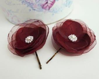 2 pcs Bordeaux Flowers Hair Bobby pins Bridal Hair Pins Bridesmaid Hairpins Wedding hair pins Burgundy flower pin dark red flower flowergirl