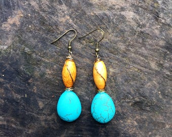 Turquoise earrings, wood earrings, gemstone earrings, gift for her, bohemian earrings, boho earrings, ethnic earrings, uk shop