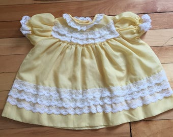 Vintage 1980s Baby Infant Girls Yellow Lace Dress! Size 6-12 months