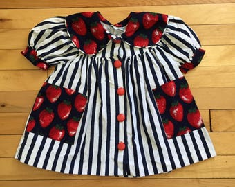 Vintage 1990s Baby Infant Girls Striped Strawberry Dress! Size 18 months