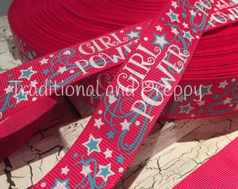"3 yards 7/8"" Glitter Girl Power Stars grosgrain ribbon"