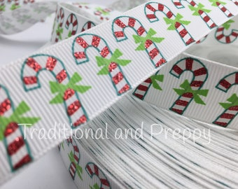 """7/8"""" Christmas Glitter Candy Cane Bow grosgrain ribbon sold by the yard"""