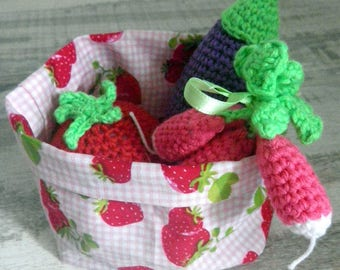 basket fabric trimmed with crochet vegetables