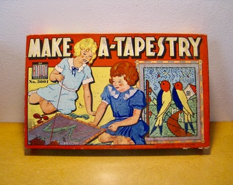 Make-A-Tapestry vintage craft kit. American Toy Works 3001. 1940s vintage toy kids' craft kit in original box. 5 tapestries to stitch.