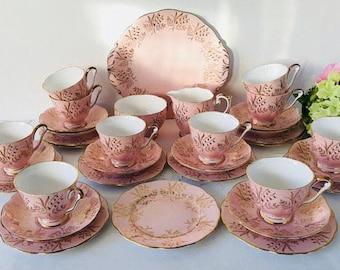 Queen Anne Pink & Gold Tea Set, Bluebells, 34 Pieces, Staffordshirep, 1950s.