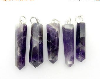 15% off Christmas in July Amethyst Point Pendant with Silver Tone Bail Purchase 1, 5, 10, or 20 pieces (RK39B3-05)