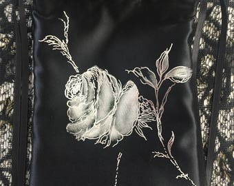 Silver Rose Black Large Tarot Bag