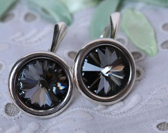 Genuine Sterling silver earrings with Swarovski rivolis