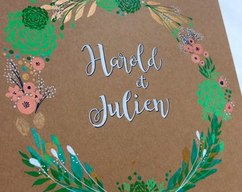 "Personalized wedding book ""succulents"" copper-mint-peach -  A5 or A4"