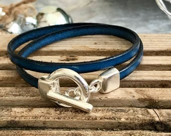 Double wrap silver toggle leather bracelet
