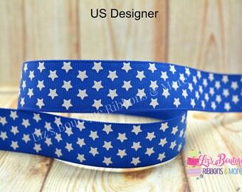 Royal blue ribbon, Star ribbon, US Designer, 7/8, 3yds, white stars, 4th of July ribbon,Patriotic Ribbon, Independence day, glitter