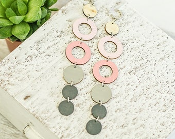 Extra long geometric earrings Light pink and gray wooden earrings Circle earrings lightweight jewelry Handpainted jewelry