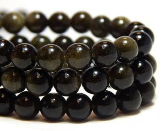 6mm Golden Obsidian, 6mm Black Beads, Golden Black Beads, Obisidan Beads, Small Black Beads, Black Gemstone Beads, Black Obsidian, B-38A