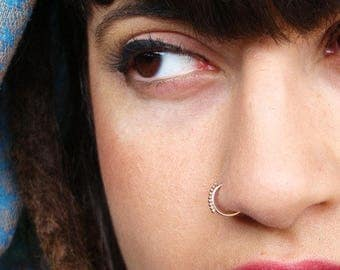 Gypsy nose ring, gold nose ring, Tribal Indian nose ring, 14k gold nose ring, nostril ring, tribal nose hoop, nose hoop, tiny nose ring,