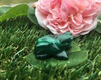 Malachite Handcrafted Frog - Transformation, Emotions, Cleansing, Change