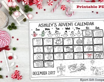 Advent Calendar Printable Coloring Page - Custom Name Personalized - Countdown to Christmas - PDF