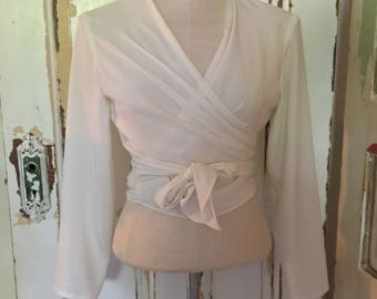 White Vintage Wrap Blouse/ Tie Top