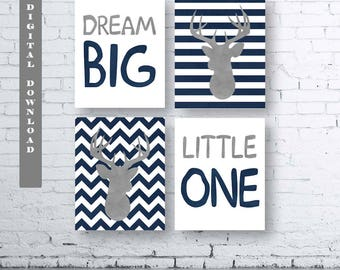 Dream Big Little One Deer Prints-Set of Four (4)-Instant Download-Baby.Decor.Nursery.Dream Big Little One Nursery.Girl Deer Nursery. Sets