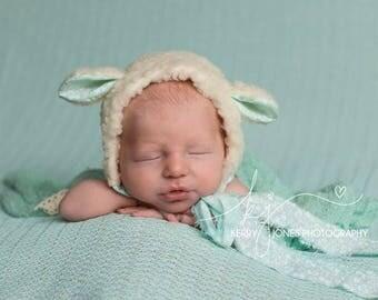 Bonny Lamb Bonnet, Newborn Size, Uk seller