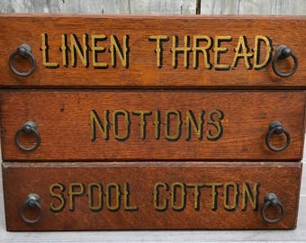 Antique 3 General Store Large Tiger Oak Drawers Cabinet Spool Cotton Thread Notions c. 1910 **FREE SHIP** A