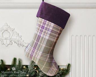 Purple Christmas Stocking, Purple Stocking, Purple Christmas, Purple Plaid Stocking, Plaid Christmas Stocking, Plaid Stocking, Flannel